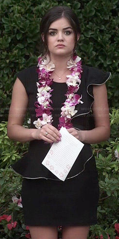 Aria's black ruffled funeral dress on Pretty Little Liars