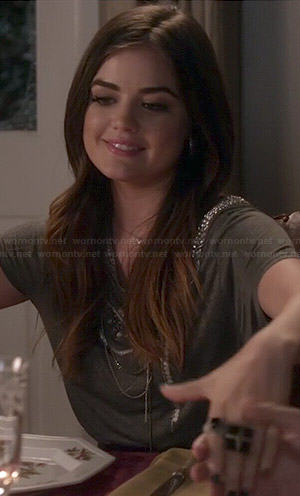 Aria's grey chain embellished tee on Pretty Little Liars