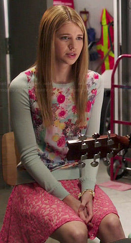 Becky's mint green floral sweater and pink lace skirt on Degrassi