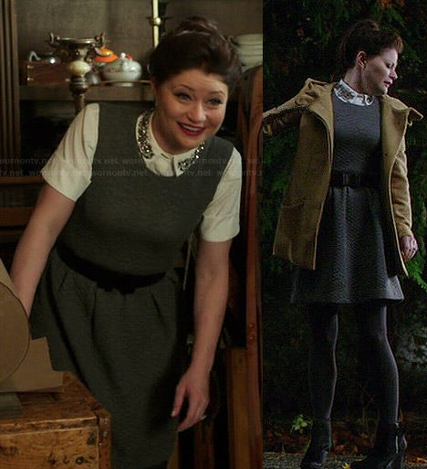 Belle's white embellished collar top and grey quilted dress on Once Upon a Time