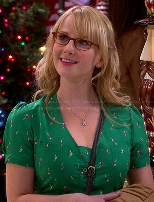 Bernadette's green Christmas dress on The Big Bang Theory