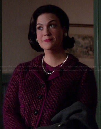 Betty's magenta wool jacket on Mad Men