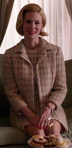 Betty's pastel tweed dress and jacket set on Mad Men