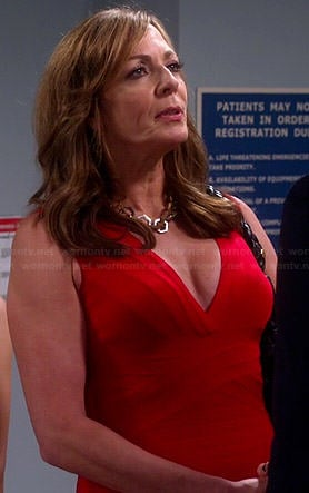Bonnie's red bandage dress on Mom