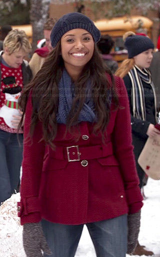 Bonnie's red textured coat on The Vampire Diaries