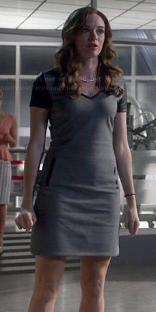 Caitlin's grey v-neck dress with leather sleeves on The Flash