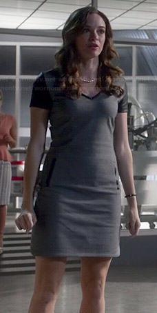 Wornontv Caitlin S Grey V Neck Dress With Leather Sleeves