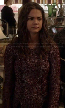 Callie's burgundy cable knit sweater on The Fosters