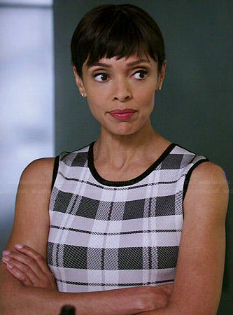 Camille's black and white plaid front dress on Bones