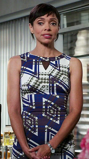 Camille's blue geometric print dress on Bones