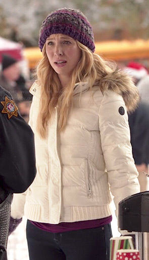Caroline's white puffer jacket with fur trim hood on The Vampire Diaries