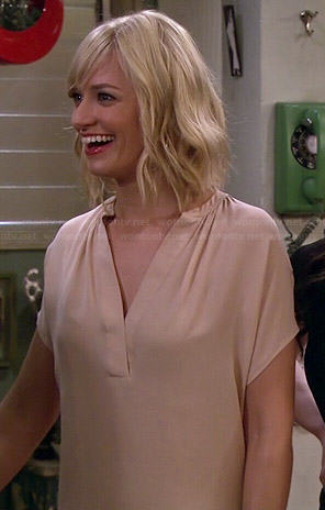 Caroline's beige split neck top on 2 Broke Girls
