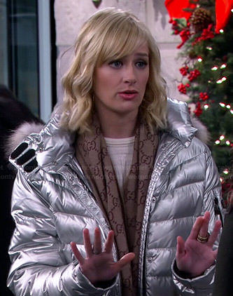 Caroline's silver puffer jacket and GG scarf on 2 Broke Girls
