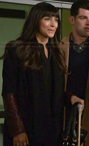 Cece's black coat with burgundy leather sleeves on New Girl