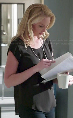 Charlie's black short sleeve top on State of Affairs
