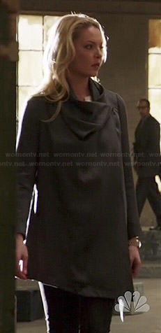 Charlie's grey draped front coat on State of Affairs