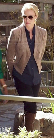 Charlie's taupe suede jacket and navy long sleeve blouse on State of Affairs