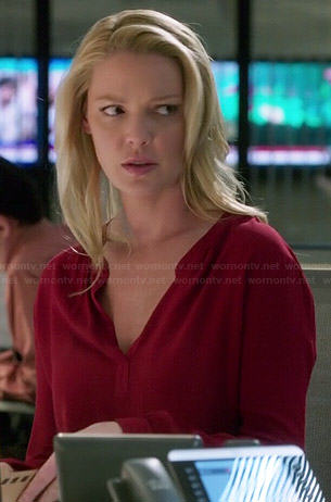 Charlie's red long sleeved blouse on State of Affairs