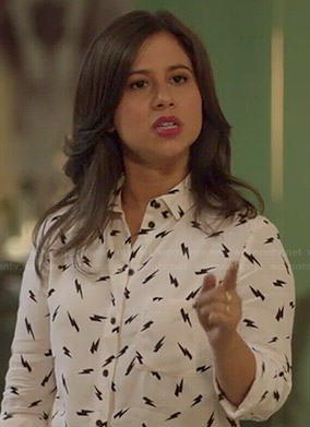 Chloe's lightning bolt print shirt on Manhattan Love Story