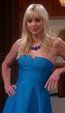 Christy's blue strapless dress on Mom