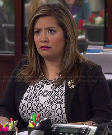 Cristela's black and white chain print dress on Cristela