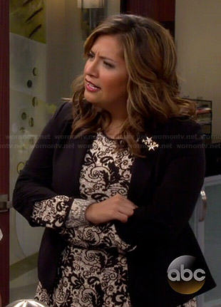 Cristela's black and white floral long sleeve dress on Cristela