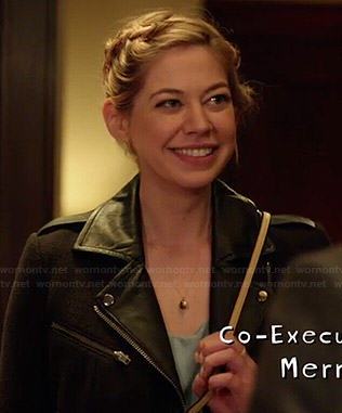 Dana's black moto jacket with leather collar on Manhattan Love Story