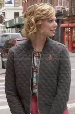 Dana's grey quilted bomber jacket on Manhattan Love Story