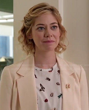 Dana's butterfly and bug printed top and white blazer on Manhattan Love Story