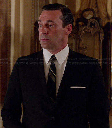 Don's black suit with diagonal striped tie on Mad Men