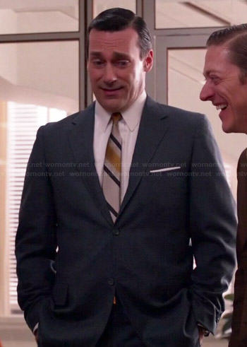 Don's grey suit and yellow stripe tie on Mad Men