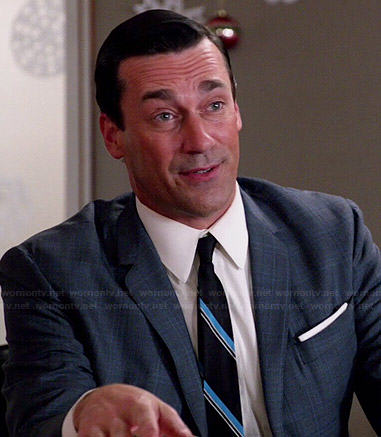 Don's grey suit with diagonal striped tie on Mad Men
