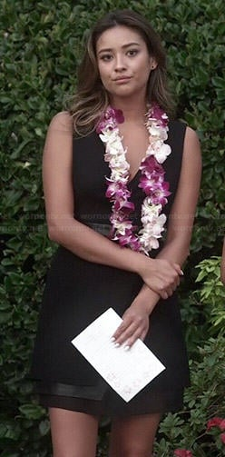 Emily's black wrap funeral dress on Pretty Little Liars