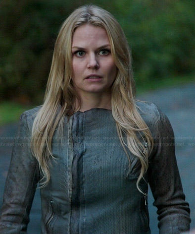 Emma's grey snake textured leather jacket on Once Upon a Time