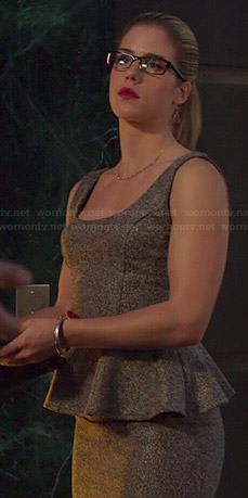 Felicity's grey tweed peplum dress on Arrow