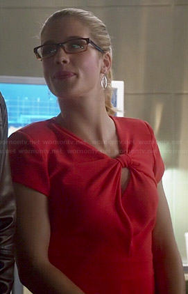Felicity's red knotted front dress on The Flash