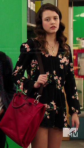 a7e381b943 WornOnTV  Frankie s black long sleeved floral romper on Degrassi ...