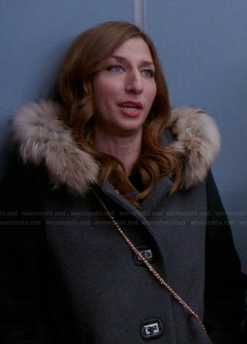 Gina's grey coat with fur trim hood on Brooklyn Nine-Nine