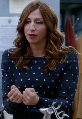 Gina's blue polka dot sweater on Brooklyn Nine-Nine