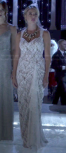 Hanna's white lace Christmas Ball dress on Pretty Little Liars