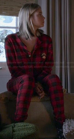 Hanna's red plaid onesie with paw on Pretty Little Liars