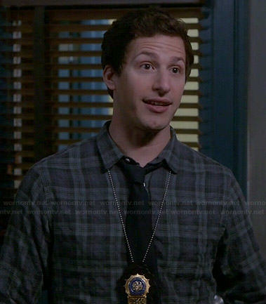 Amy's blue and green printed blouse on Brooklyn Nine-Nine