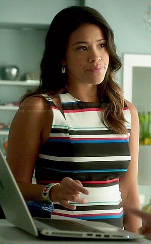 Jane's mixed stripe dress on Jane the Virgin