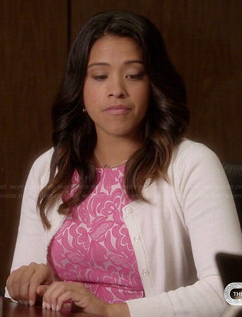 Jane's pink floral lace print dress on Jane the Virgin