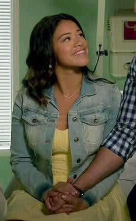 Jane's yellow textured dress and denim jacket on Jane the Virgin