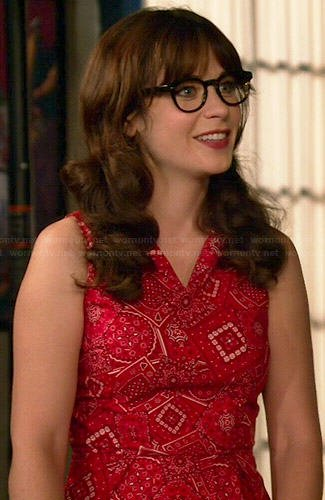 Jess's red bandana print dress on New Girl