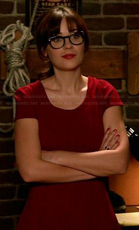 Jess's red cap sleeve dress on New Girl