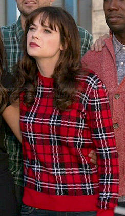 Jess's red plaid sweater on New Girl