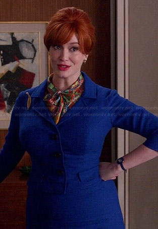 Joan's cobalt blue skirt suit and multi-colored scarf on Mad Men