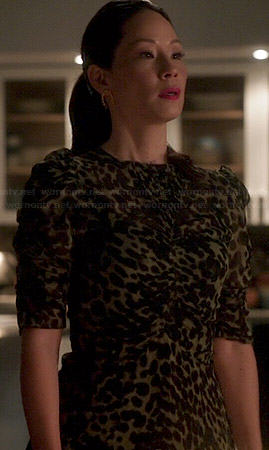 Joan's ruched leopard print top on Elementary